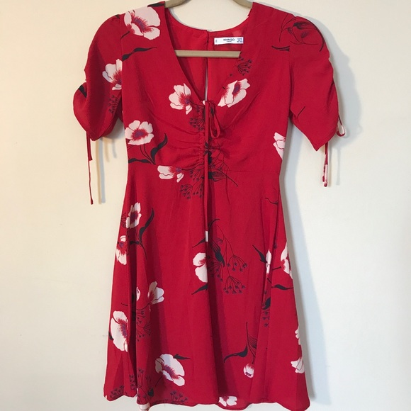 Mango dresses xs red dress with white flowers by poshmark m5a53f1d38af1c583570230ab mightylinksfo